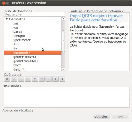 QGIS Expression Window